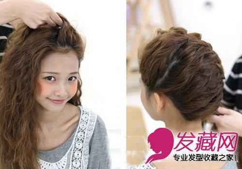 怎么扎头发简单好看 刘海编织花苞形状发型(6)