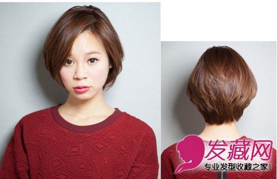 2015侧分女生短发发型图片 斜刘海搭配中长卷发