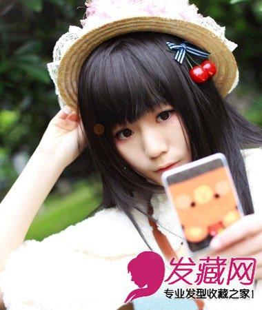 齐刘海长直发发型不仅瘦脸效果一流,而且更显呆萌清纯.
