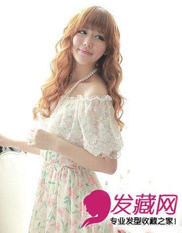 棕栗色 染发 ,齐整的 刘海发型 ,自由靓丽的裙摆完美凸显公主气质.图片