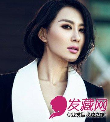 圆脸适合的发型图片 空气刘海时尚甜美发型 →圆脸适合中长发图片
