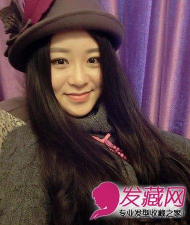 女生圆脸适合什么发型 韩系中分露额长发发型(5)