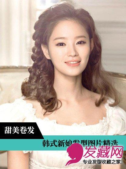 韩式婚纱照新娘发型 棕色卷发采用螺旋烫设计(9)