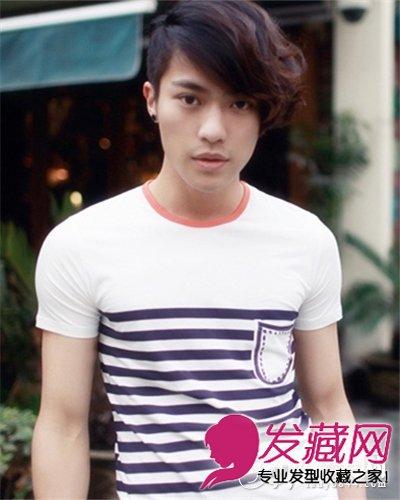 发型网 流行发型 烫发发型 > 男生时尚烫发发型 斜刘海个性长发发型(4图片