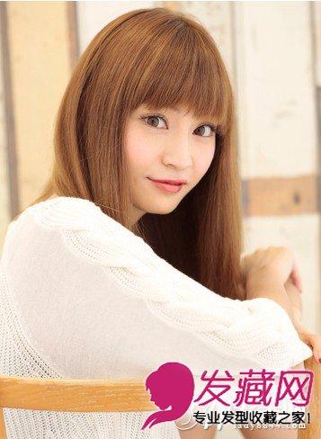 齐刘海长发发型图片 发尾内扣长直发发型(5)图片