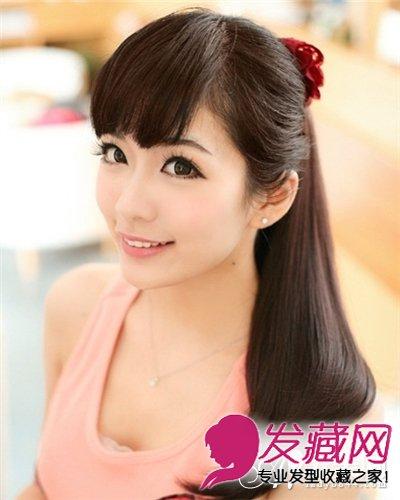 直刘海柔顺马尾发型设计 柔美扎发发型领衔图片