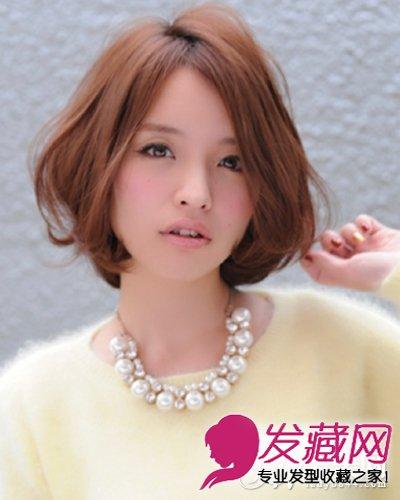 发型 适合胖脸女生的发型      俏丽时尚的斜刘海波波头,甜美可爱又有