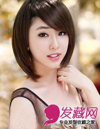 > 韩式短发发型图片 女生清新又淑女雅致(2)  导读:斜刘海波波头,显得