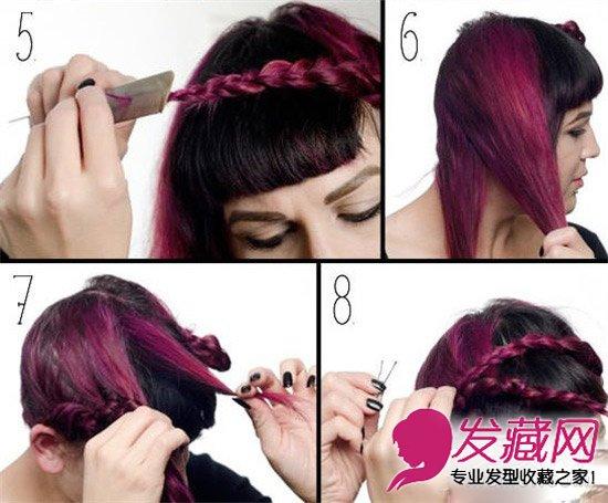 STEP 2 继续把左边的上半部分头发简单编成辫子,用细橡皮筋固定好,然后右边的头发按照左边的方法编好,再把左边的辫子用发夹固定在右边