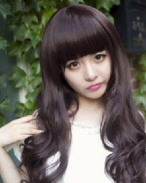 齐刘海长卷发发型 超级可爱的非主流发型