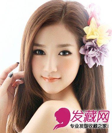 御姐范儿中分长发扎法 发型巧搭大脸立变小脸(7)