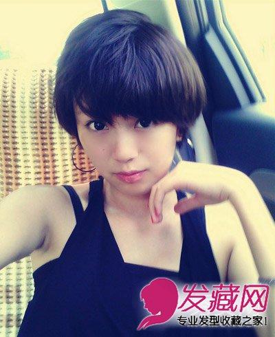 圆脸女生的短发 简约的直发短发发型(9)  导读:有点凌乱感的斜刘海图片