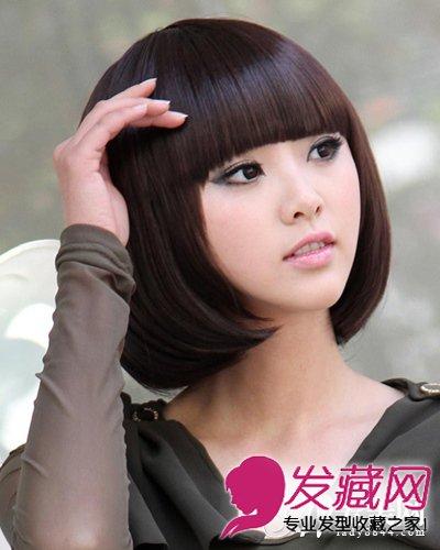 窄额头高颧骨发型 齐刘海长卷发发型(5)图片