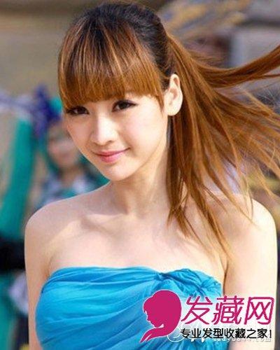 窄额头高颧骨发型 齐刘海长卷发发型 6