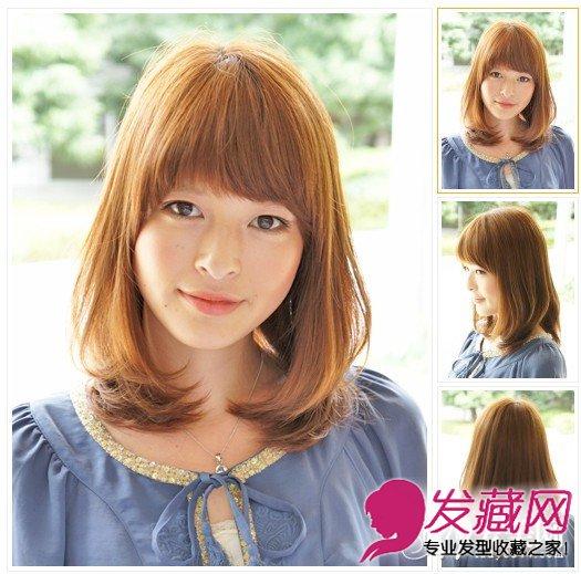 层次内扣发型   染发颜色:棕色   厚重的齐刘海增加了造型的潮流程度,加上层次的发尾内扣造型充满了甜美的感觉,更有减龄的效果哦。