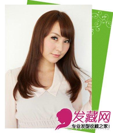 齐刘海中长发发型图片 鬓角修颜发型(7)