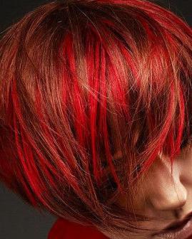 橘红色头�_橘红色头发图片 不对称的女生短发发型