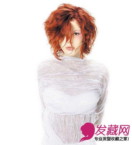 橘红色头发图片 不对称的女生短发发型(6)