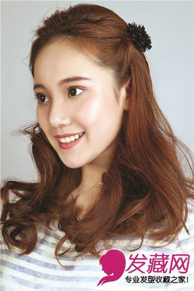 韩式卷发扎法立显小脸 →长卷发发型设计图片 侧边编发复古发夹超显