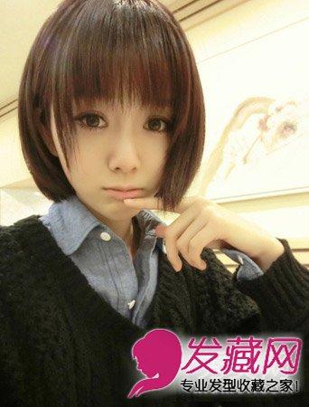 可爱俏皮的内扣短发,齐刘海显得mm年龄更加的小.