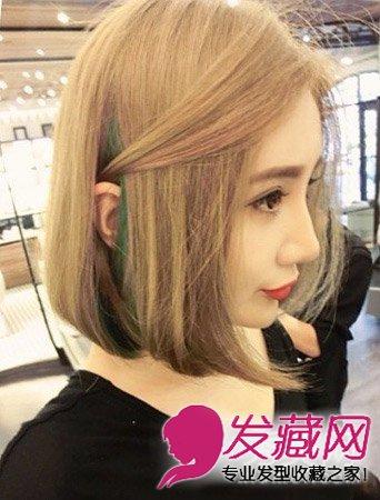 浅黄色的染发中挑染了一抹绿色显得非常别致,颜色融合的非常完美