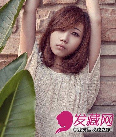 甜美斜刘海卷发发型 斜刘海改变脸型(6)图片