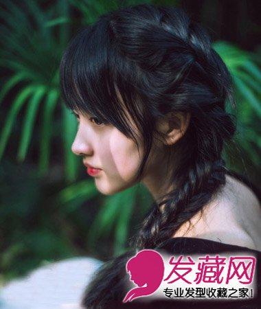 一款长发编发,乌黑莹亮的发丝最显淑女气质,搭配鱼骨辫编发丰富发型图片