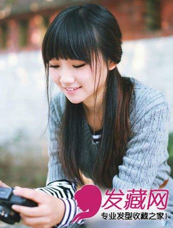 2015流行学生发型图片 简约的露额发型搭配马尾辫子(3)
