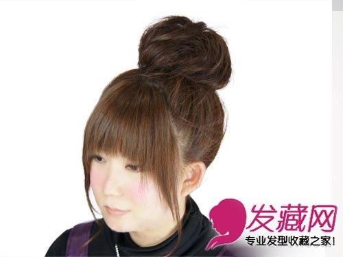 青春个性丸子头扎法显年轻 →简单又好看的丸子头发型图片 →长发变