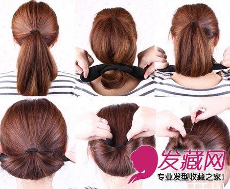 韩式发型扎法图解 海绵盘发器打造花苞头(2)
