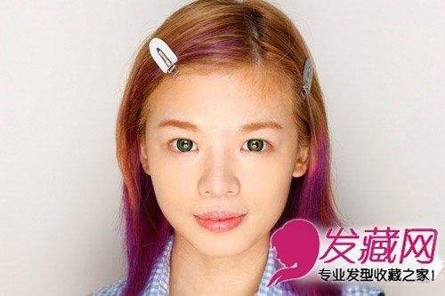 图解韩式猫耳朵发型扎法 圆鼓鼓的造型俏皮可爱(3)