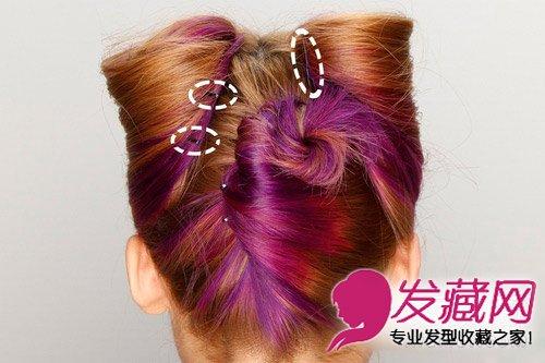 发型网 发型diy 编发教程 > 图解韩式猫耳朵发型扎法 圆鼓鼓的造型