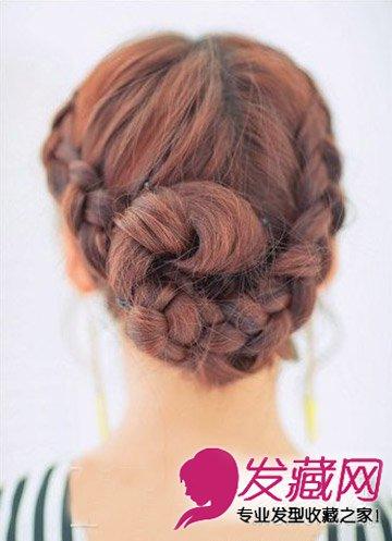 春日气息柔美纹理感发型(6)  导读:步骤五,固定后将发辫拉松,头顶区域