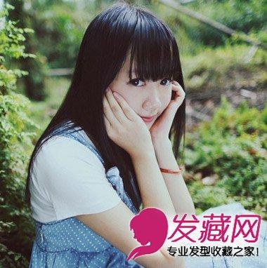 齐刘海长直发发型 圆脸女生最适合直发发型(4)
