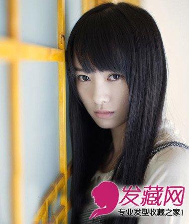 齐刘海长直发发型 圆脸女生最适合直发发型(5)图片