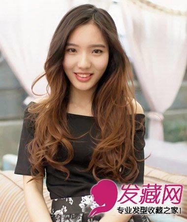 卷发染发发型设计(9)  导读:这款棕色系的烫染发最是显白嫩,三七分斜图片
