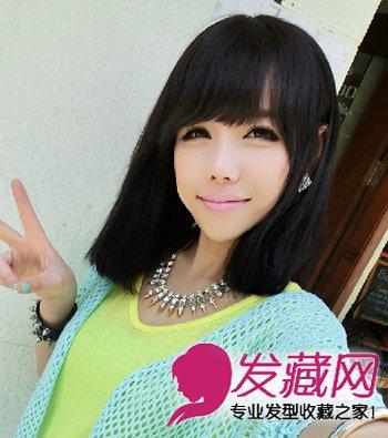 2015流行女学生发型 职场菜鸟齐刘海卷发发型(4)