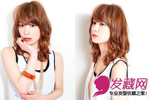 清新中长发烫发发型 深棕色的染发颜色图片