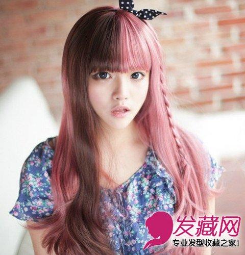 短发      栗色卷发搭配吸睛的粉红色染发图片