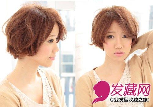 减龄中分波波头短发发型图片