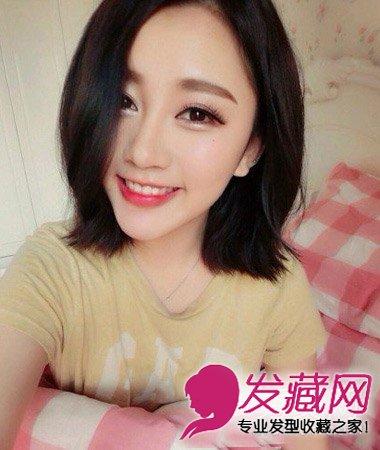 大圆脸适合的短发发现 →脸大适合什么发型 带点韩式可爱风情中短发