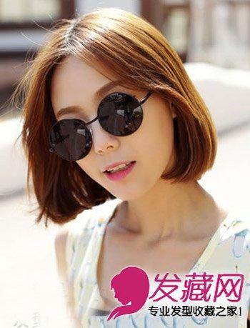什么发型戴墨镜好看 韩式的中分短发发型图片