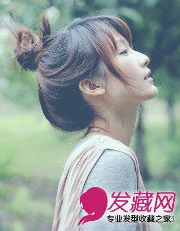 这款可爱的女生发型,齐刘海的造型设计修饰女生小巧的脸蛋,大眼睛更