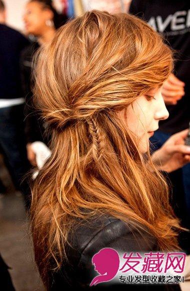 编发发型让发型更有内涵,亮眼的深棕色染发搭配淑女气质的长发很是图片