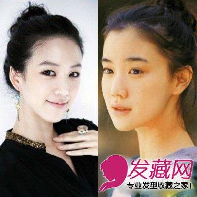 将长发扎成丸子头,清爽的露额发型,简单的粗眉妆,同样自然的两人图片
