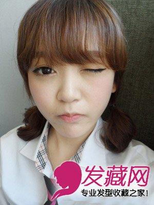 扎法,短发扎两个小辫俏皮可爱,韩式刘海修颜显呆萌.