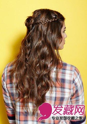 盘发 →春夏甜美扎发教程 2步甩掉路人味   波西米亚风格的半扎发很图片