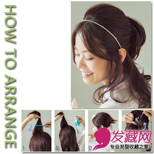 步骤1:鬓角和刘海都留下两束头发垂在脸侧.