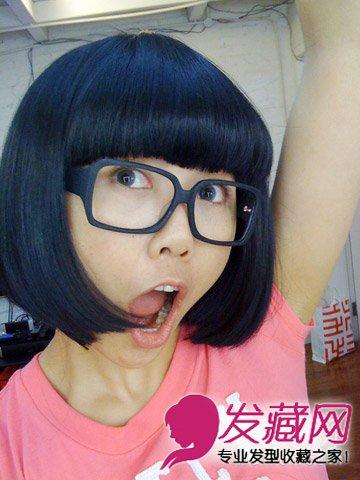 导读:可爱的齐刘海 短发 发型,短发蘑菇头的造型搭配无框眼镜萌感