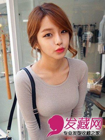 最新发型设计与脸型搭配 长脸女生适合的发 →韩系齐刘海扎发发型图片